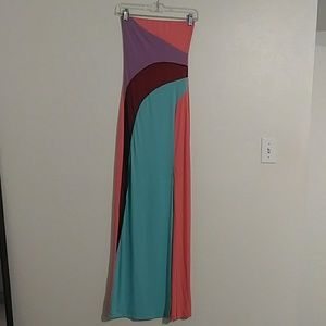 Sexy colorblock maxi dress